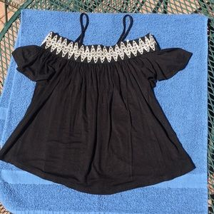 Tribal Flowy Black Off Shoulder with Strap Top